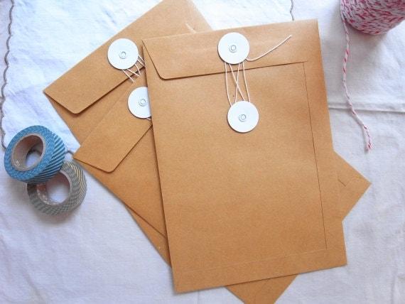 Brown kraft string & tie envelope / String and Button envelopes - 5