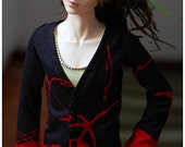 Buttoned tricot shirt for BJD - Black red