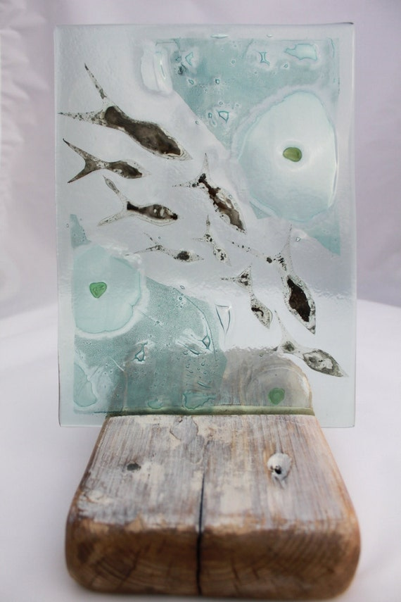 Reserved for Rebecca Paradis: Shoal of Silver Fish Fused Glass Art made from recycled glass...