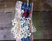Cuff Bracelet with Denim and Vintage Lace