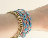 Bracelet tresse tricolore et chaînette dorée - (pré commande, 8 jours max)