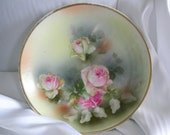 Hand Painted Pastel Roses Fine China Plate - Signed MADE IN GERMANY with an Eagle- Vintage