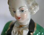 Porcelain Baroque Style Figurine - Unsigned - Vintage 1930 - 1960