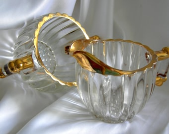 Heavy Ribbed Glass and Gold Trimmed Sugar & Creamer Set with Hobnail Bottoms - Unsigned - Vintage