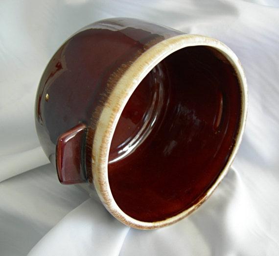 Huge Brown and Cream Drip Glaze Bean Pot - Signed McCOY - Vintage 1960 - 1990 - Mint