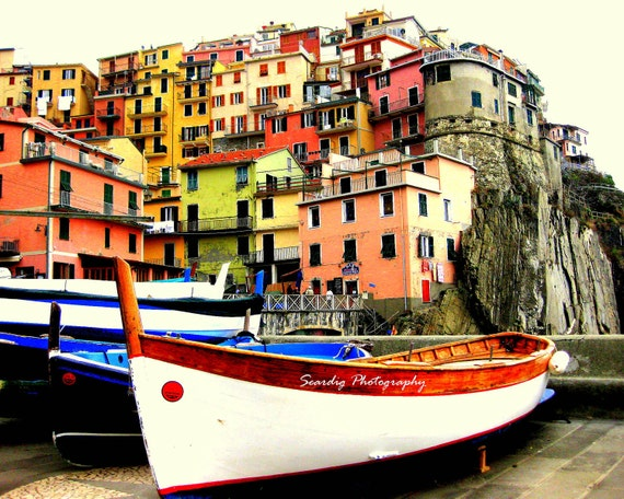Manarola. Cinque Terre, Italy Photo Print. Colorful Kids Room Decor.  Colorful Buildings. Fishing Boats. Rainbow. Nursery Room. Kids Room.