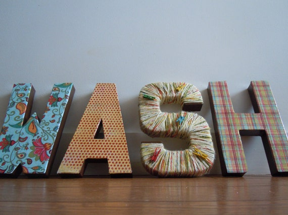 Super cute, CUSTOMIZEABLE -WASH in 3D block letters  to decorate your laundry or wash room