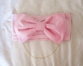 Pink Bow Bandeau with Gold Chain