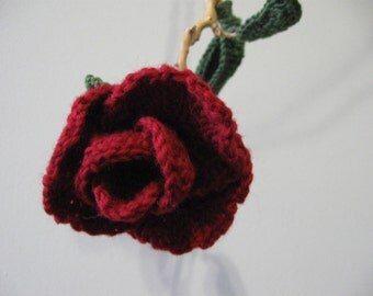 Small Crochet Red Rose