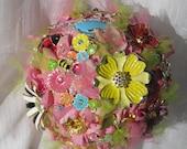 Summer Garden Wedding Bouquet Pink and Green so whimsical