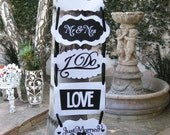 Black and White Vertical Wedding Banner with six different signs