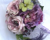 Floral Wedding Brooch Bouquet lavender and purple
