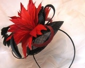 Red and Black Feather Fascinator