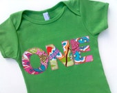 Girls Birthday T Shirt- 1st First Baby Party Flower Pattern Letter Birthday Shirt 1