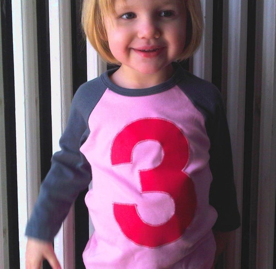 Giant Number Birthday Shirt- 1st, 2nd, 3rd Raglan Jersey T Shirt Girl 1 2 3 4 5