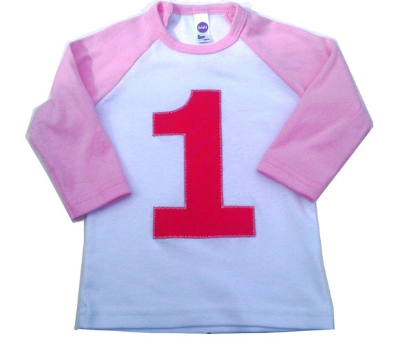 Pink and White Raglan Birthday Shirt T Shirt for Girls First 1st Birthday