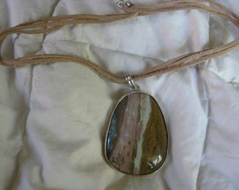 Scenic Agate Pendant Necklace FABULOUS Vintage Artist Made PICTURE AGATE Deco Inspired