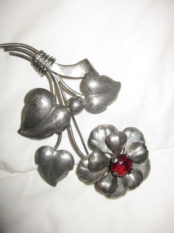 Vintage Retro Silver Flower Pin Antique Sterling Brooch Huge VINTAGE STERLING Silver Figural RETRO Flower Floral Brooch