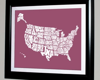 USA Word Map - Typographical Map, Print or Canvas, United States Art Map, 8x10, 11x14, 16x20, 20x30