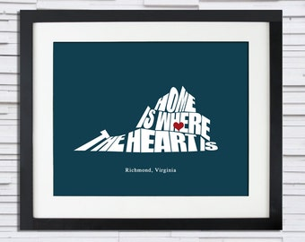 Home is Where the Heart Is - State Silhouette Poster - (Any State or Country), Personalized Gift Ideas, Print or Canvas