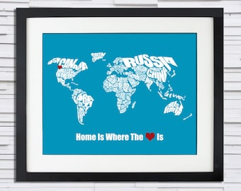 Home is Where the Heart Is - World Word Map - Wedding or Anniversary Gift, Christmas Gift, Custom Color, Typography Stencil, Travel Map Art
