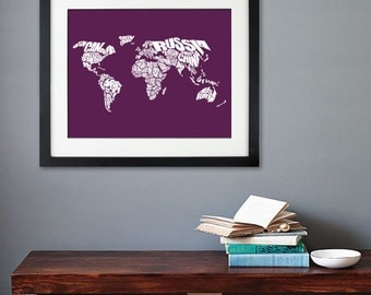 World Word Map - A typographic word map of the Countries of the World, Typography Map Art, Home Decor, Housewarming, Moving Gift, Travel
