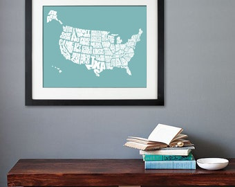 USA Word Map - A typographic word map of the United States, Print or Canvas, Custom Size and Color, Home Decorating Ideas on a Budget