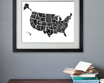 Usa Word Map A Typographic Word Map Of The United States Of America Travel