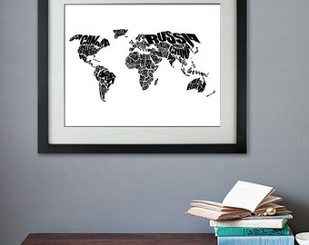 World Word Map - A typographic word map of the Countries of the World.