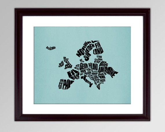 Europe Word Map - A typographic text map of Countries of Europe, Travel Map, Typography Stencil Art, Custom Gift, Home Decor, Custom Color