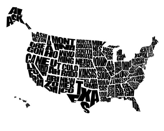 USA Word Map A Typographic Word Map Of The United States Of - Us map stencil