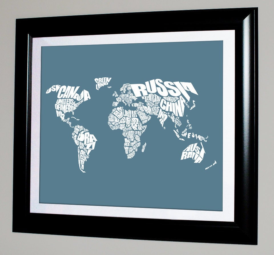 World Word Map Travel Map Home Decor Typography Stencil