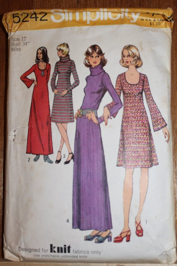 """Simplicity 5242 Knit Sweater Dress Pattern Size Misses 12 Bust 34"""""""