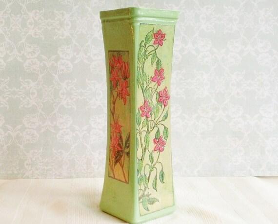 Decoupage Vase - Art Nouveau Influenced