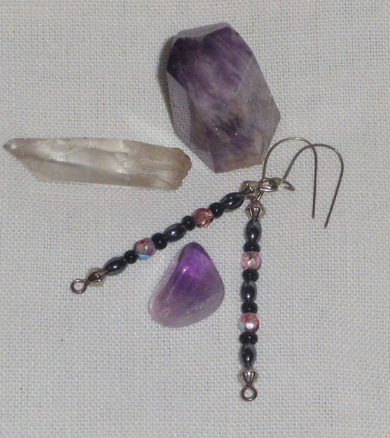 Dangling earrings on sterling earwires with hematite & shimmering violet Swarovski beads