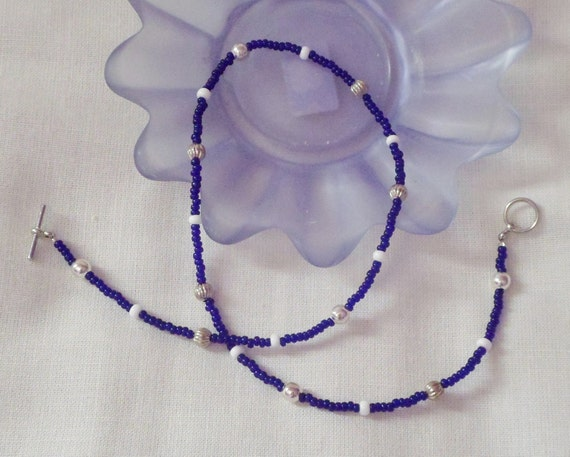 Reduced - Royal blue and silver Czech beaded necklace