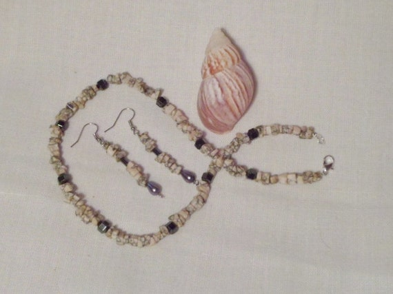 RESERVED -Stone and hematite necklace and ear-ring set