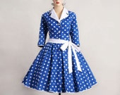 1950s Rockabilly Vintage Dress Royal Blue / Med White Polka Dot 3/4  Arm (D07-CM08)