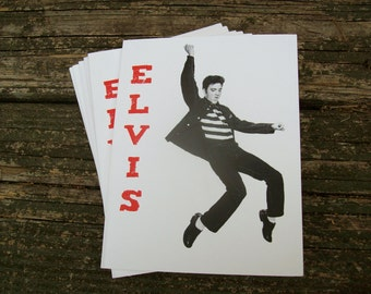 Elvis Note Card Pack - set of six 4.25x 5.5 (A2) handcrafted cards