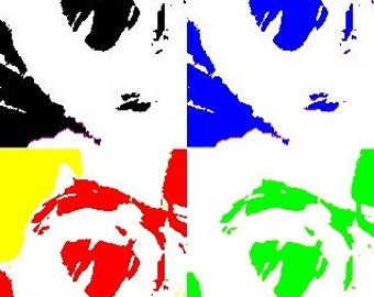 Four Fangsters in Primary Colors Signed Fine Art Print Photographic Collage 8x10 or 5x7