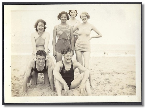Vintage Snapshot/Photo Flapper Era Girls and Guys Posing in Bathing Suits on Beach - Great Vintage Photo...a176