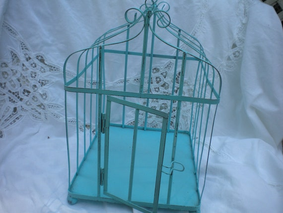 Bird Cage in Metal Vintage Robin's Egg ,Wedding Bird Cage,Shabby Chic,Cottage ,Bird Cage decor