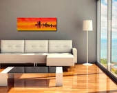 """12"""" x 36"""" Original Gallery-wrapped Acrylic Painting, """"Denver at Sunrise"""""""