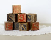 Vintage Wooden Baby Blocks - Alphabet & Numbers - Toy Blocks
