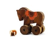 Vintage Rustic Wooden Toy Horse - Folk Art Style - Hand Painted