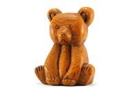 Vintage Wood Bear Figurine - Hand Carved Wooden Bear - Woodgrain Texture