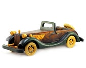 Handmade Wooden Retro Roadster Convertible: Vintage Collectable Toy Car -  Green, Brown, Yellow, Wood - Men, Fathers Day