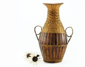 Vintage Chinese Basket Vase - Hand Woven Asian Wicker/Bamboo/Rattan Vase - Brown, Golden, Decorative Vase, Spring, Summer