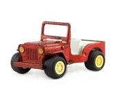Tonka Jeep: Vintage Toy Truck - Industrial Decor - Red, Men, Boys, Automotive, Vehicle, Metal Truck, Kids - 1960's