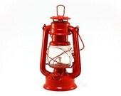 Kerosene Lantern: Red Metal Railroad Lantern - Globe Brand, Rustic, Cabin Decor, Farmhouse, Summer - Camping, Outdoors, Men, Masculine